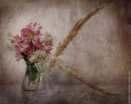 Фотокартины ручной работы. Ярмарка Мастеров - ручная работа. Купить Натюрморт Осенние цветы. Handmade. Фуксия, бежевый, белый