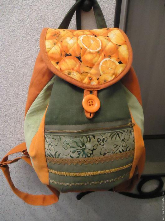 """Рюкзаки ручной работы. Ярмарка Мастеров - ручная работа. Купить Рюкзак """"Апельсин"""". Handmade. Рыжий, рюкзак женский, льняной рюкзак"""
