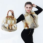 Одежда ручной работы. Ярмарка Мастеров - ручная работа Комплект Жилет+сумка из лисы.Жилет из меха лисы.Жилетка.Сумка меховая. Handmade.