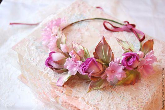 Венок на голову из роз Невеста. Цветы из шелка