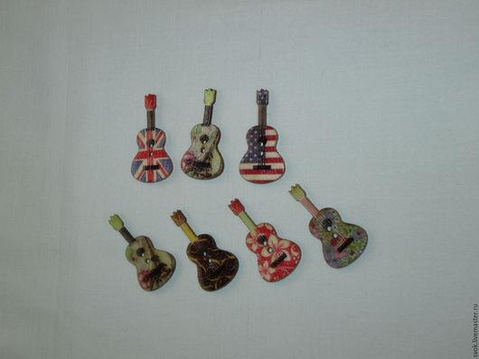 Шитье ручной работы. Ярмарка Мастеров - ручная работа. Купить Пуговицы деревянные, гитары, разноцветные. Handmade. Цветные пуговицы, пуговицы