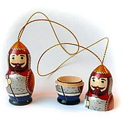 """Подарки к праздникам ручной работы. Ярмарка Мастеров - ручная работа матрёшка подвеска """"Богатырь"""" высота 6 см. открывается. Handmade."""
