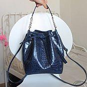Сумки и аксессуары ручной работы. Ярмарка Мастеров - ручная работа cute bag синий кроко. Handmade.