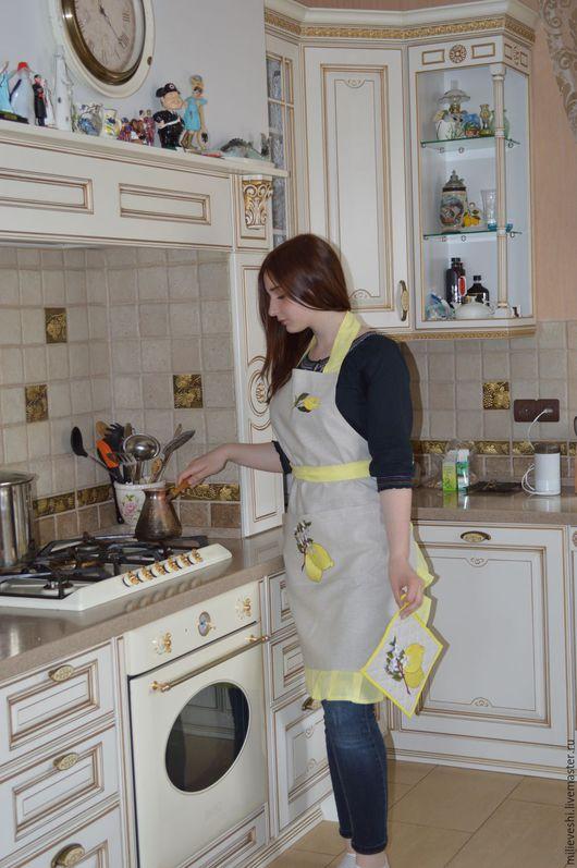 Кухня ручной работы. Ярмарка Мастеров - ручная работа. Купить Фартук для кухни льняной с вышивкой Лимон.. Handmade. Лен