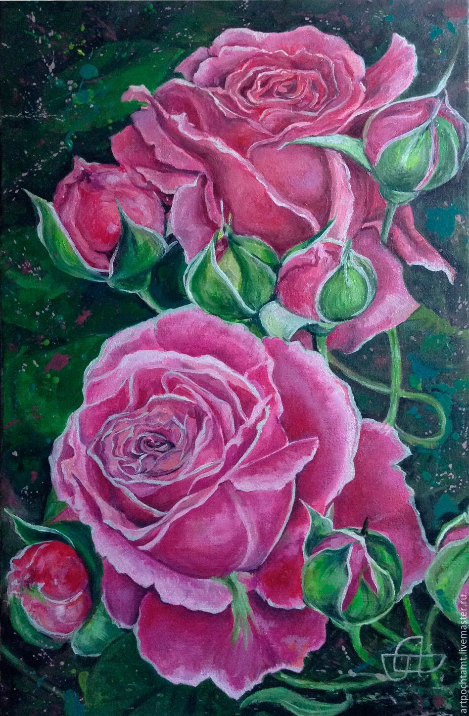 Pink roses shop online on livemaster with shipping aw1x7com online shopping on my flower paintings handmade order pink roses painting for the soul livemaster mightylinksfo