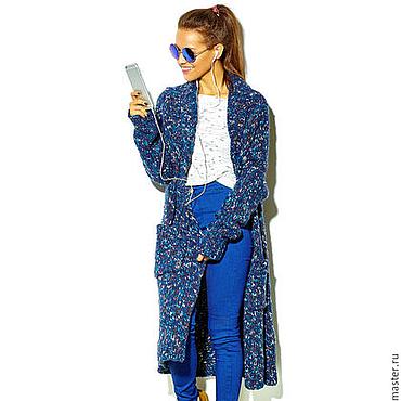 Одежда ручной работы. Ярмарка Мастеров - ручная работа Синий меланжевый кардиган. Handmade.
