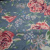 Материалы для творчества ручной работы. Ярмарка Мастеров - ручная работа Ткань хлопок 100% Розы на синем 220 см. Handmade.