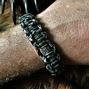Украшения handmade. Livemaster - original item Bracelets: Paracord bracelet with silver beads. Handmade.