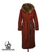 Одежда ручной работы. Ярмарка Мастеров - ручная работа Пуховик зимний с енотом,пальто зимнее,длинный пуховик. Handmade.