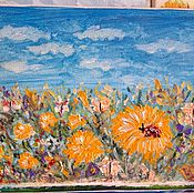 Картины и панно handmade. Livemaster - original item Meadow with dandelions.. Handmade.