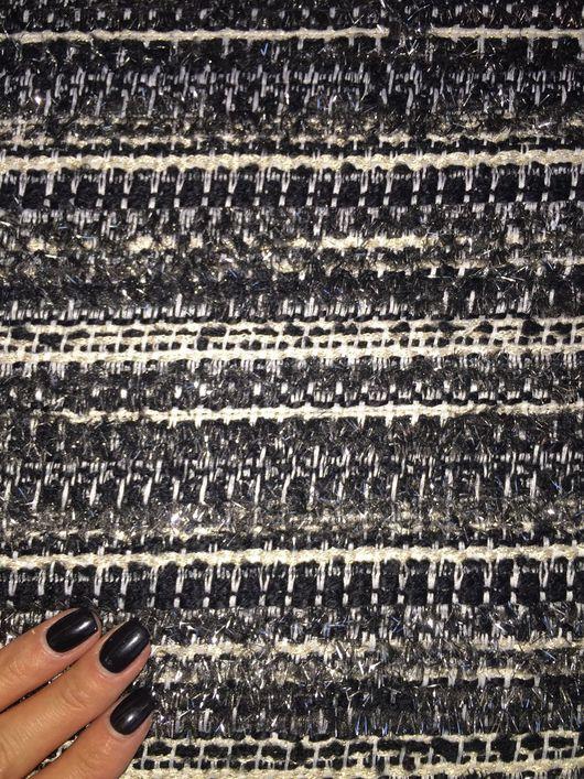 Шитье ручной работы. Ярмарка Мастеров - ручная работа. Купить Твид шанель букле Chanel полоска черная с серебряным люрексом. Handmade.