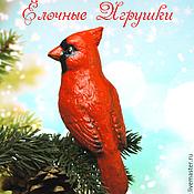 Подарки к праздникам ручной работы. Ярмарка Мастеров - ручная работа Елочная игрушка из папье маше, фигурка птица, красный кардинал,. Handmade.