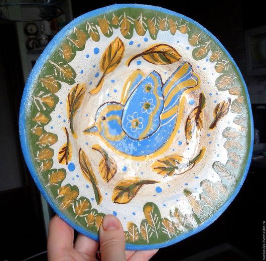 """Тарелки ручной работы. Ярмарка Мастеров - ручная работа. Купить Тарелка из серии """"Синие птицы"""", осенняя. Handmade. Керамическая посуда"""