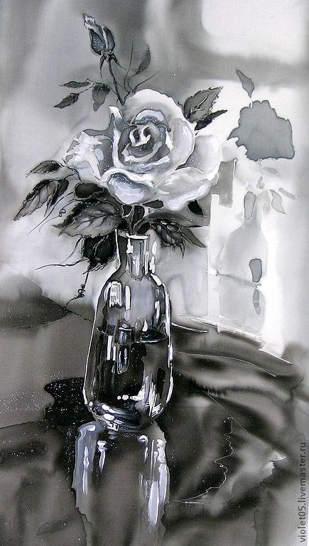 """Натюрморт ручной работы. Ярмарка Мастеров - ручная работа. Купить """"В склянке темного стекла..."""", батик, картина на шелке. Handmade."""
