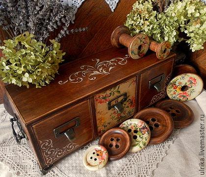 """Мини-комоды ручной работы. Заказать Подарочный набор в мини комодике для рукодельницы """" Очарование"""". Подарки от Галины. Ярмарка Мастеров."""