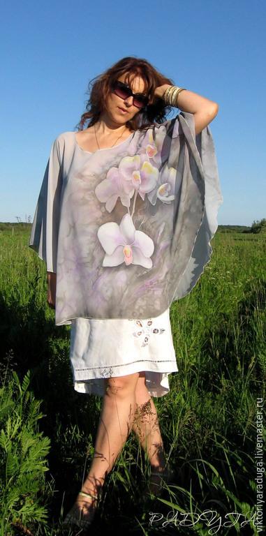tunic batik, batik tunic, tunic, round, Orchid, orchids batik, batik orchids, painting on fabric, tunic copyright, tunic with the author's paintings, chiffon tunic, chiffon tunic, batik tunic