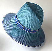 Аксессуары ручной работы. Ярмарка Мастеров - ручная работа Соломенная шляпа голубая. Handmade.