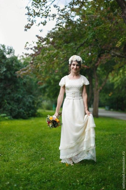Одежда и аксессуары ручной работы. Ярмарка Мастеров - ручная работа. Купить Платье Vintage White. Handmade. Белый, органза