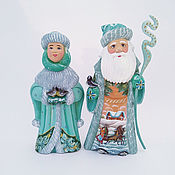 Сувениры и подарки handmade. Livemaster - original item Grandfather frost and snow maiden malachite coat(wooden). Handmade.