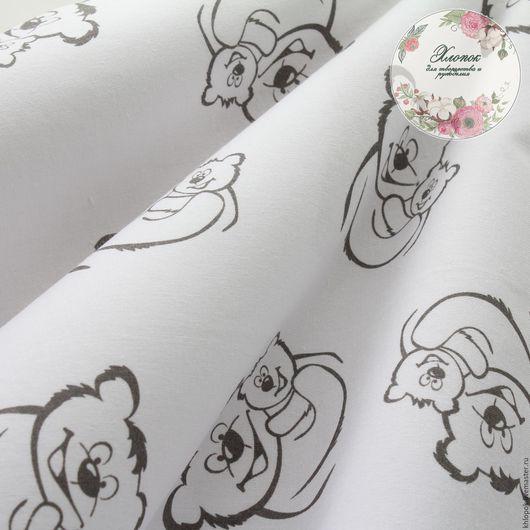 Шитье ручной работы. khlopok. Ярмарка Мастеров. Ткань из 100% польского хлопка. Принт с мишками на белом фоне. Размер от 50см*40см