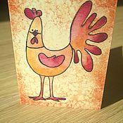 """Открытки ручной работы. Ярмарка Мастеров - ручная работа открытка """"Позитивный петушок - мини"""" (2). Handmade."""