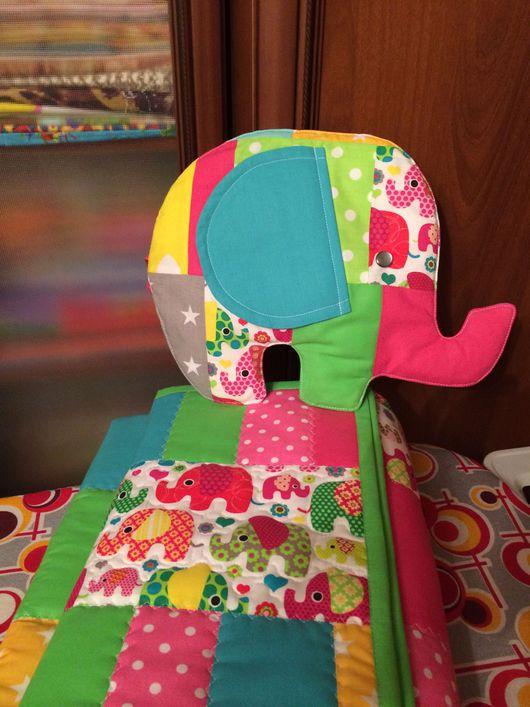 """Детская ручной работы. Ярмарка Мастеров - ручная работа. Купить Комплект """"Слоники"""". Handmade. Комплект для девочки, пледик, наволочка пэчворк"""