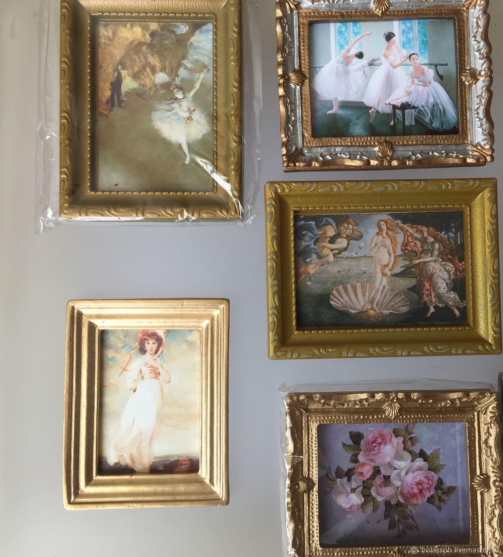 Картина миниатюрна панно в раме в кукольный домик, Аксессуары для кукол и игрушек, Санкт-Петербург,  Фото №1