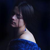 """Украшения ручной работы. Ярмарка Мастеров - ручная работа Серьги""""Капель синяя"""". Handmade."""