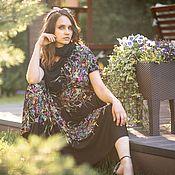Одежда handmade. Livemaster - original item AG_032 asymmetric Dress, black with oblique floral stripes.. Handmade.