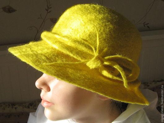"""Шляпы ручной работы. Ярмарка Мастеров - ручная работа. Купить Шляпка дамская """"Ярко-желтая весна"""". Handmade. Лимонный, шляпа"""