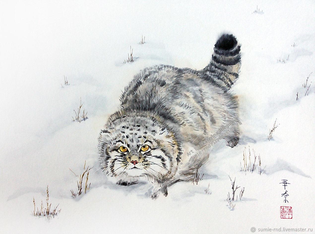 Серия картин Манулы - 3 кота, суми-э тушь зима белый снег сугроб кошка, Картины, Ростов-на-Дону,  Фото №1