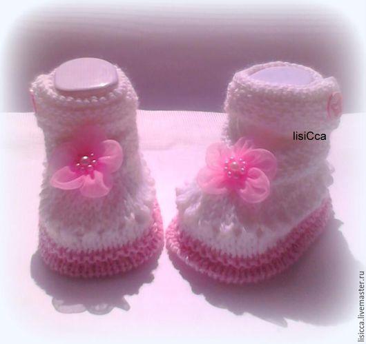 Для новорожденных, ручной работы. Ярмарка Мастеров - ручная работа. Купить Пинетки-туфельки для маленькой принцессы. Handmade. Пинетки, на выписку