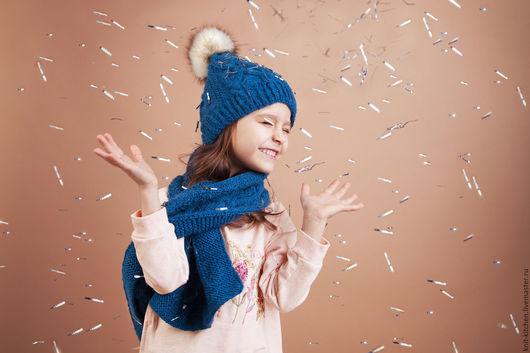 Комплект шапка и шарф Sea aquamarine Knitting kitchen `Golubka`