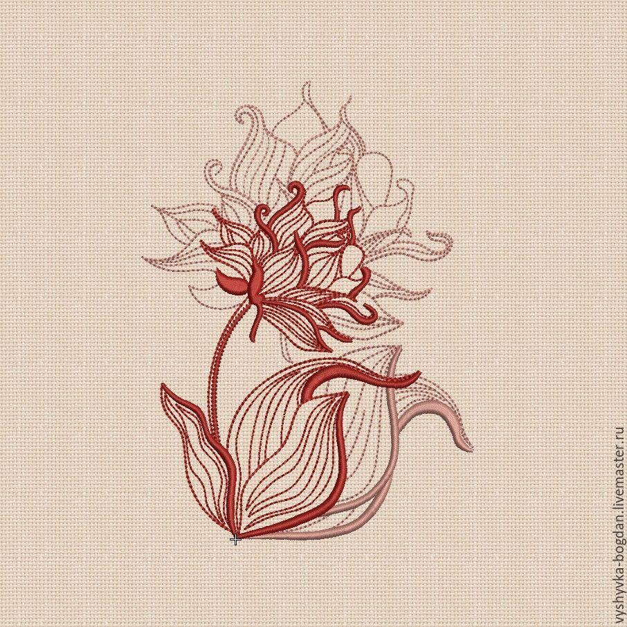 Machine embroidery design `Contour flower` bt012 Design for hoops 180 x 130 mm. Formats: pes dst hus exp vip vp3 xxx jef jef +