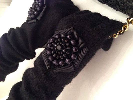 """Варежки, митенки, перчатки ручной работы. Ярмарка Мастеров - ручная работа. Купить """"Черный агат"""". Перчатки.. Handmade. Черный"""