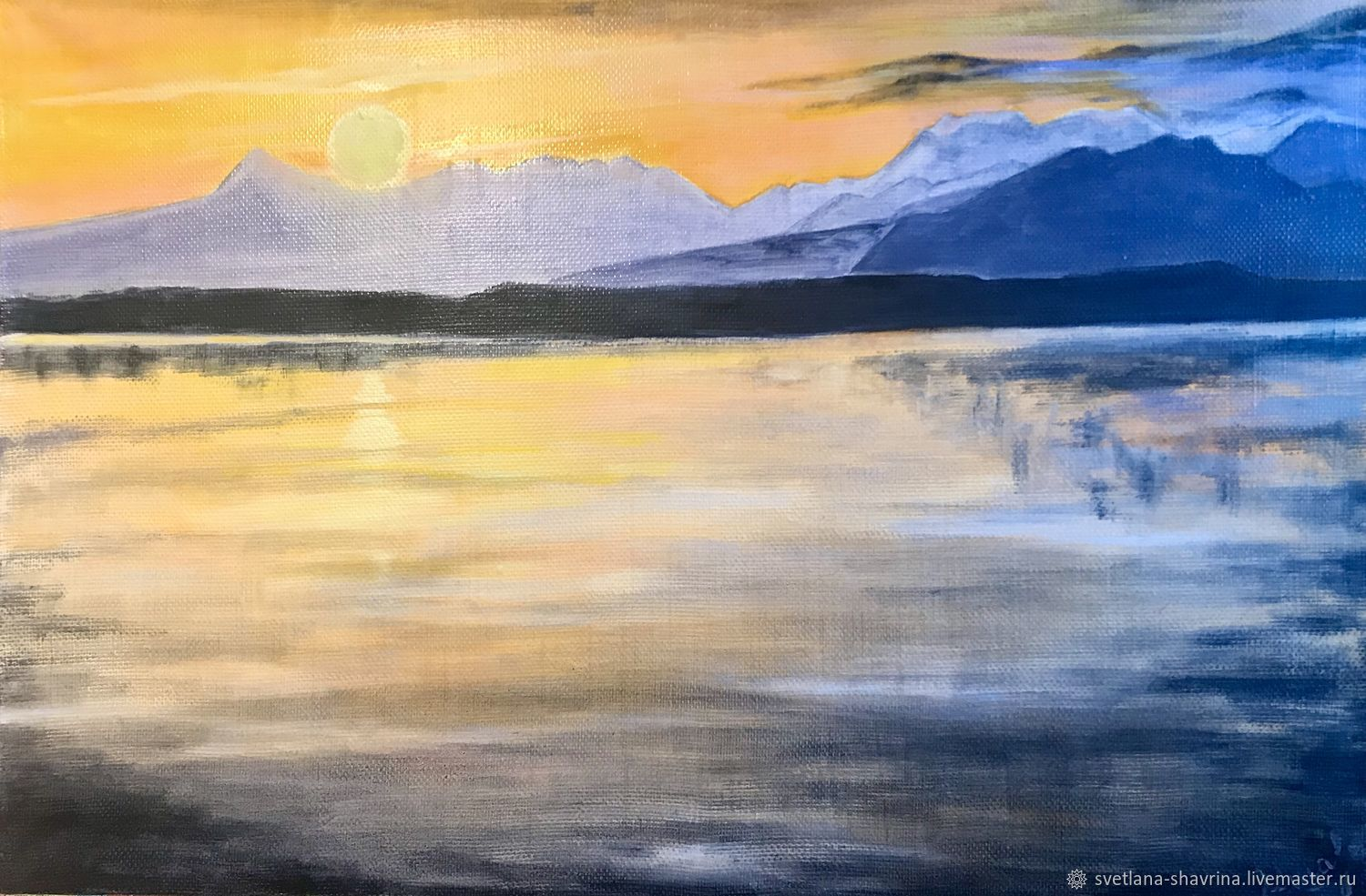 Oil painting: ORANGE SUNSET, m / x, 60h40, post-impressionism, Pictures, Moscow,  Фото №1