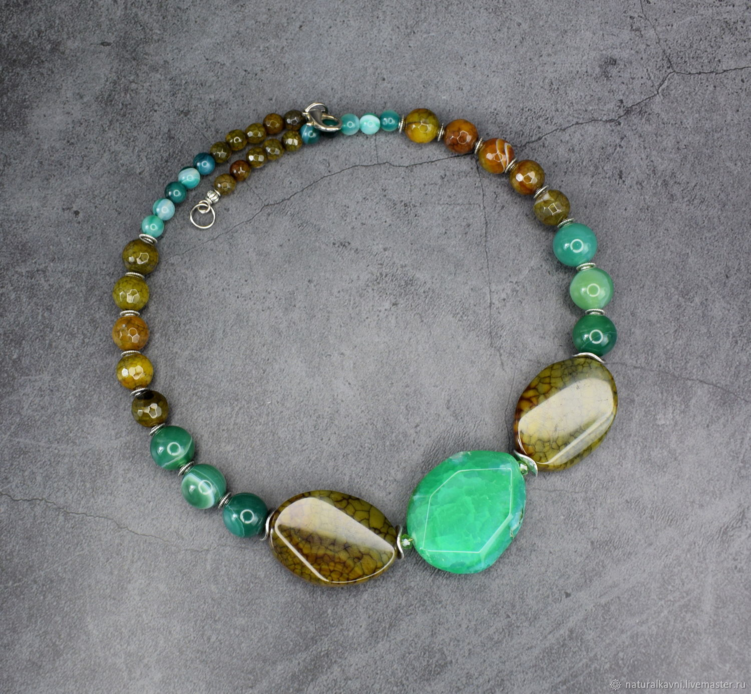 Necklace natural agate. The author's work, Necklace, Moscow,  Фото №1