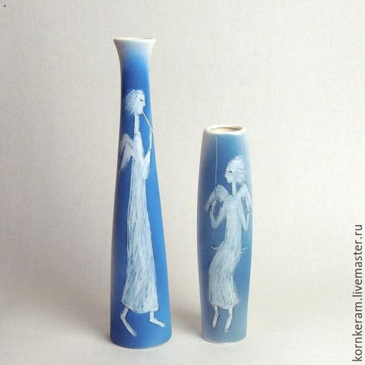 """Подарочные наборы ручной работы. Ярмарка Мастеров - ручная работа. Купить """"Ангелы трубящие"""", две вазы. Handmade. Голубой, фарфор"""