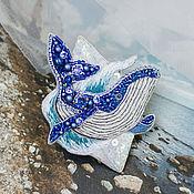Brooches handmade. Livemaster - original item Embroidered blue whale brooch with rhinestones and Swarovski pearls. Handmade.