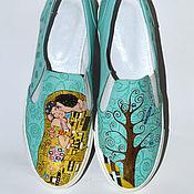 Обувь ручной работы. Ярмарка Мастеров - ручная работа Кожаные слипоны с росписью Климт. Handmade.
