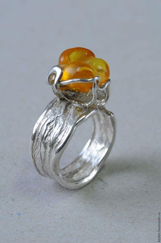Кольца ручной работы. Ярмарка Мастеров - ручная работа. Купить кольцо 2 0022 янтарь. Handmade. Янтарь, теплый