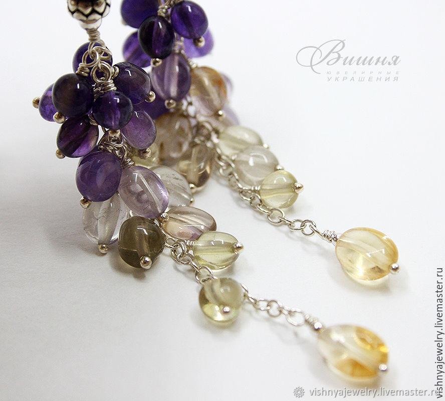 Earrings 925 silver IVAN da MARYA 2 Amethyst, Lemon Topaz, Citrine, Earrings, Moscow,  Фото №1