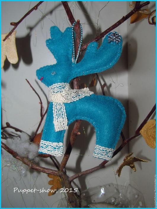 """Кукольный театр ручной работы. Ярмарка Мастеров - ручная работа. Купить Елочная игрушка олененок """"Серебряное копытце"""" - серия Лапландия. Handmade."""