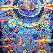 """Картины и панно ручной работы. Ярмарка Мастеров - ручная работа Батик панно """"Морские глубины"""". Handmade."""