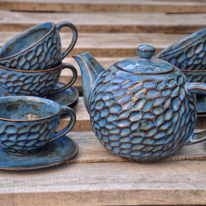 Керамический чайный сервиз Синяя жемчужина, Сервизы, Краснодар,  Фото №1