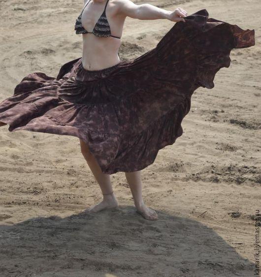 """Юбки ручной работы. Ярмарка Мастеров - ручная работа. Купить Юбка """"Ветер из песка"""". Handmade. Коричневый, юбка из вискозы, бохо"""