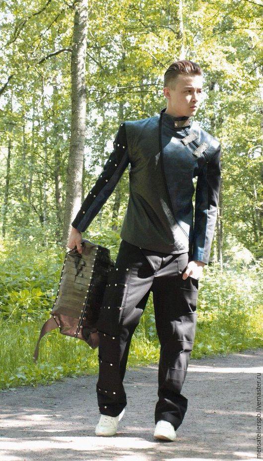 Верхняя одежда ручной работы. Ярмарка Мастеров - ручная работа. Купить Мужская куртка. Handmade. Кожа, рок, металл