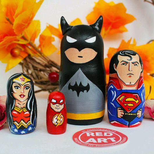 """Матрешки ручной работы. Ярмарка Мастеров - ручная работа. Купить Матрешка """"Бэтмен против Супермена"""". Handmade. Матрешка, матрешка расписная"""