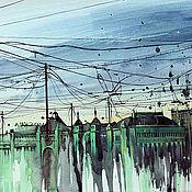 Картины и панно ручной работы. Ярмарка Мастеров - ручная работа Ливень.Белорусский вокзал. Handmade.