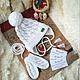 """Шапки и шарфы ручной работы. Ярмарка Мастеров - ручная работа. Купить Комплект """"White"""" шапка, варежки. Handmade. Белый"""